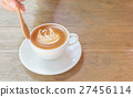 Cup of Coffee, latte with on the wooden table. 27456114