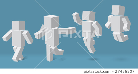 cubic character in four different poses. 27456507