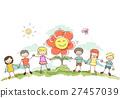Stickman Kids Hold Hands Flower 27457039