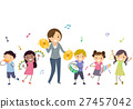 Stickman Kids Play Instruments Teacher 27457042