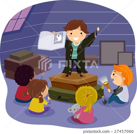Stickman Kids Scary Story Attic 27457060