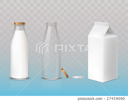 Set of icons box, bottles empty and with a milk 27459090