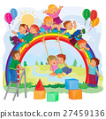 Carefree young children playing on the rainbow 27459136
