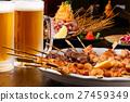 日式烤雞串 烤雞肉 啤酒 27459349