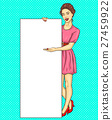 Pop art Chinese, Korean girl showing ads 27459922