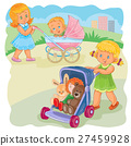 Vector illustration of two girls ride buggies 27459928