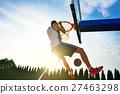Street basketball player performing power slum 27463298