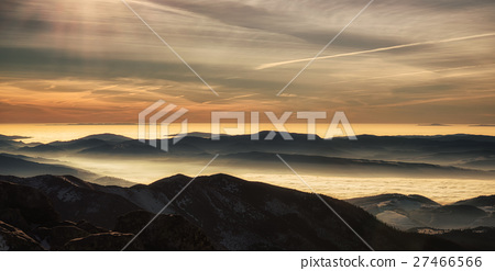 Mountain panorama - inversion and colorful sky 27466566