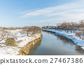 Public park with white snow 27467386