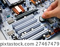Hand install battery to PC motherboard 27467479