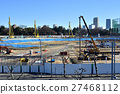 track and field stadium, under construction, construction site 27468112