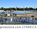 track and field stadium, under construction, construction site 27468115