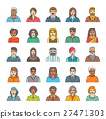 People faces avatars flat thin line vector icons 27471303