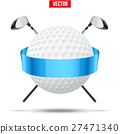 Golf clubs and ball with ribbons 27471340