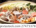魚湯和蔬菜 雞肉或海鮮鍋 平底鍋 27473378