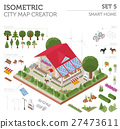 Flat 3d isometric smart home and city map  27473611