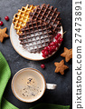 Coffee and waffles with berries 27473891