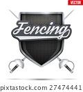 Premium symbol of Fencing shield label 27474441