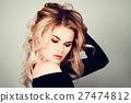 Perfect Woman Fashion Model with Blonde Curly Hair 27474812