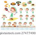 Polka dot clothes ribbon girl cooking 27477490