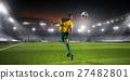 Soccer palyer kick ball 27482801