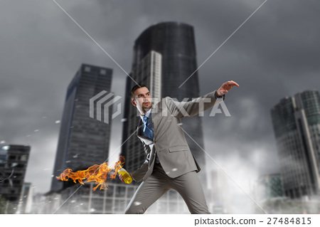 Businessman throwing petrol bomb 27484815