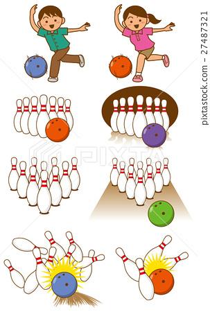 볼링 핀과 그릇과 인물의 이미지 일러스트 세트 27487321
