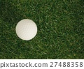 Elevated view of golf ball on grass 27488358