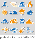 natural disasters problems in the world icons  27489822