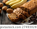 Homemade banana bread on wooden background. 27493028