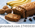 Homemade banana bread on wooden background. 27493030