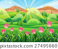 Scene with pink tulips in the garden 27495660