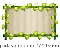 Bamboo frame with green leaves 27495666