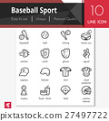 Baseball sport elements vector black icons set. 27497722