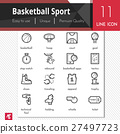 Basketball sport elements vector black icons set. 27497723