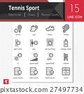 Tennis Sport elements vector black icons set. 27497734