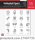Volleyball Sport elements vector black icons set. 27497735