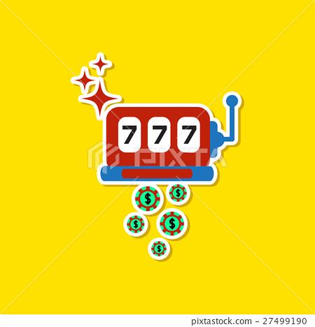 paper sticker on stylish background slot machine 27499190