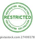 Grunge green restricted round rubber stamp 27499378