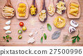 Various kind of pasta in wooden spoons . 27500996