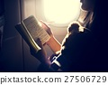 Woman Reading Writing Book Plane Concept 27506729