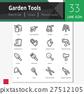 Garden tools vector icons set on white background. 27512105