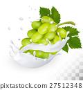 Green grape in a milk splash 27512348
