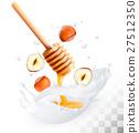 Hazelnut and honey in a milk splash 27512350