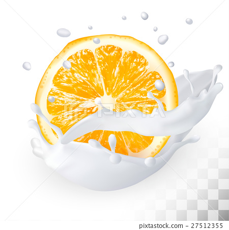 Orange in a milk splash 27512355