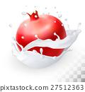 Pomegranate or garnet in a milk splash 27512363