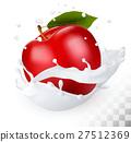 Red apple in a milk splash 27512369