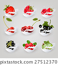 Big collection icons of fruit and berries in milk 27512370
