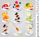 Big collection icons of fruit in milk  27512371