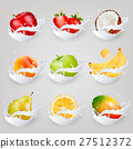 Big collection icons of fruit in a milk splash. 27512372
